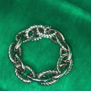 Chain link stretch gold tone statement bracelet